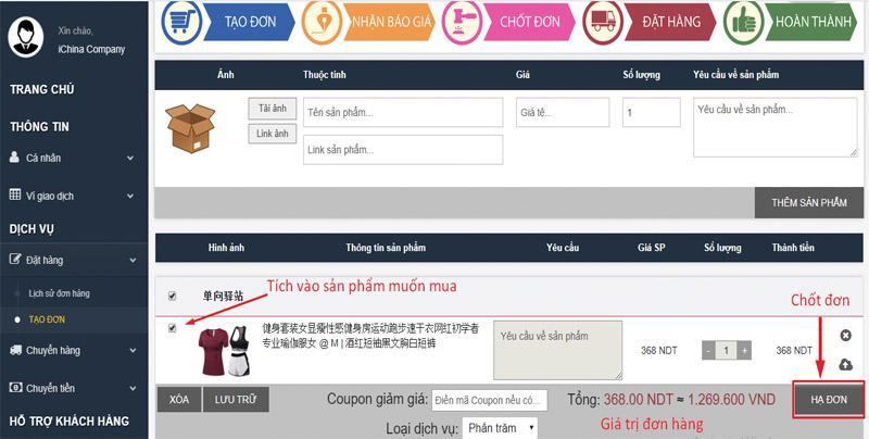 Tạo đơn hàng để gửi đơn hàng lên hệ thống của iChina